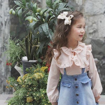 6bf0a9cceba6e 女の子 キッズ 韓国子供服 即納・在庫処分・50%OFF・110、130cmのみ メリミブラウス・シャツ(2色) 90~130cm   17ss019floB5